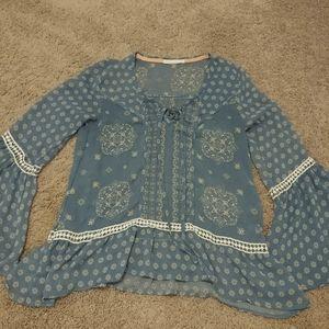 Blue Boho Long sleeve Blouse Shirt
